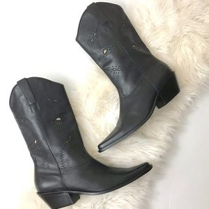 Matisse Black Leather Cowboy Boots tooled cut outs